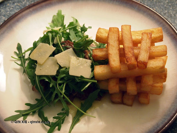 Perfect steak, rocket, parmesan, triple cooked chips