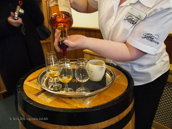 Pouring whisky at Glen Garioch