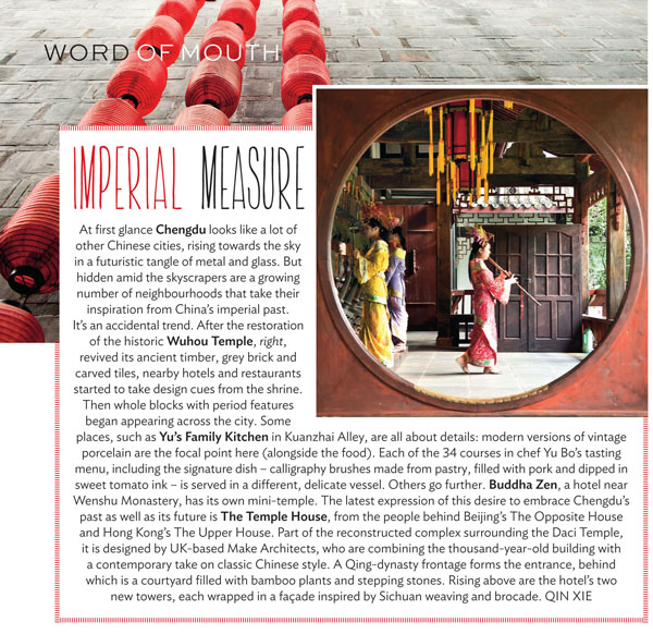 Condé Nast Traveller UK Jan 15, WOM on Chengdu