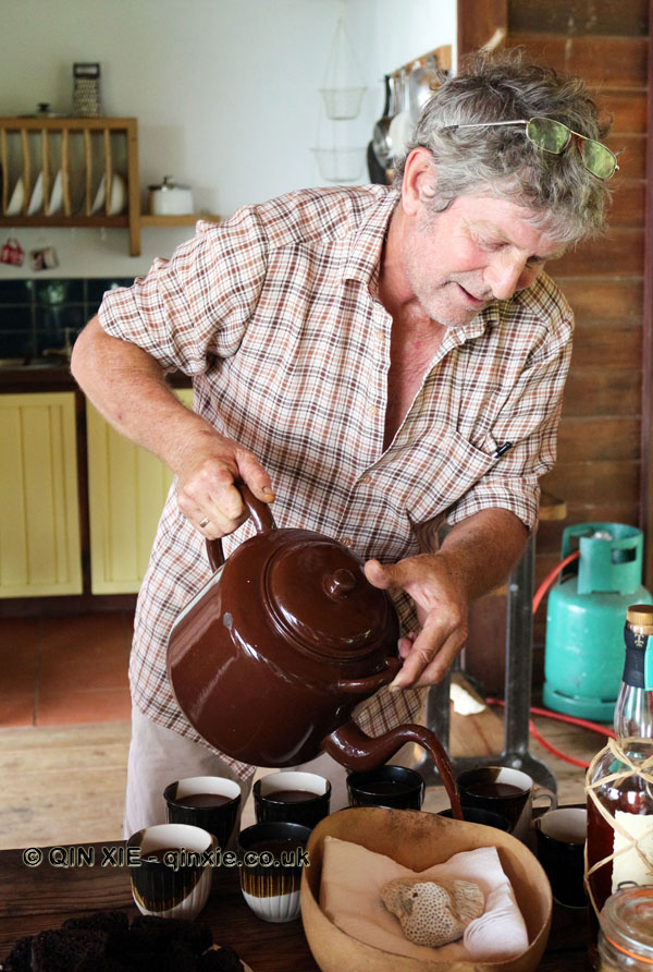 Kim Russell pouring out cocoa tea