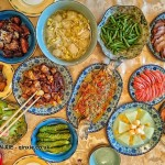 Chinese feast table