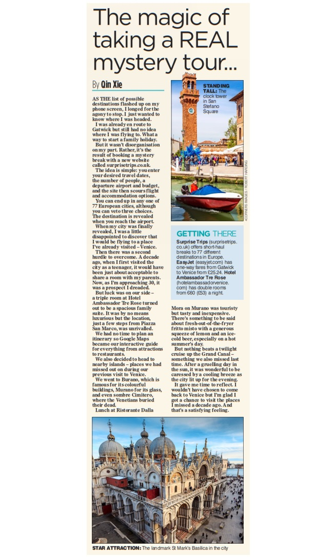 Qin Xie Venice Mail on Sunday