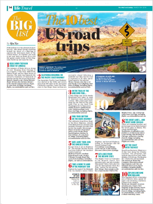 Qin Xie Mail on Sunday Road Trips